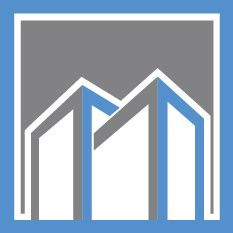 Midtown Liquidators favicon - 2 buildingswith gray and blue trim set against a gray background