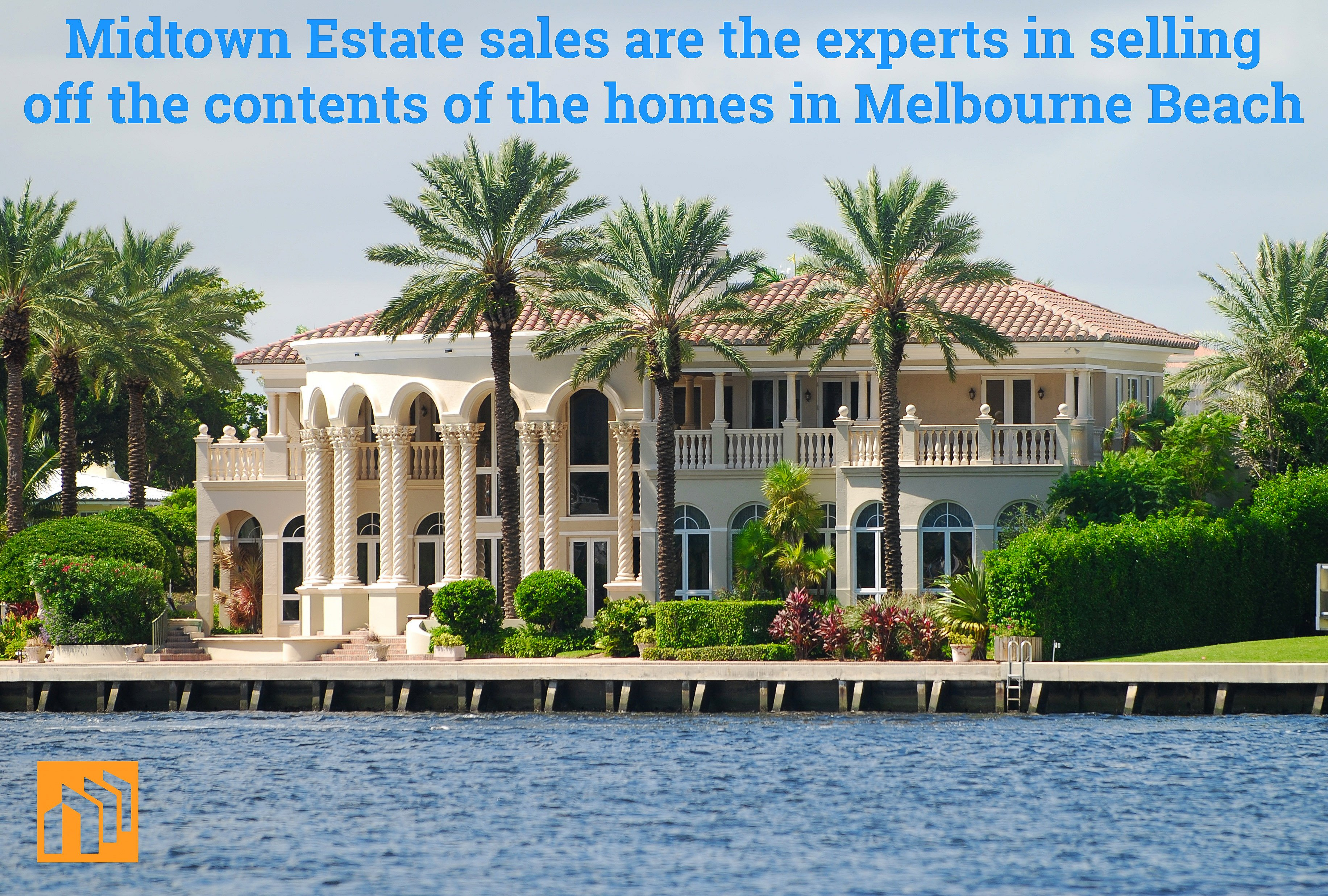 Beautiful Melbourne Beach waterfront mansion. Light peach colored (7) bedroom home that rests on the Indian River.