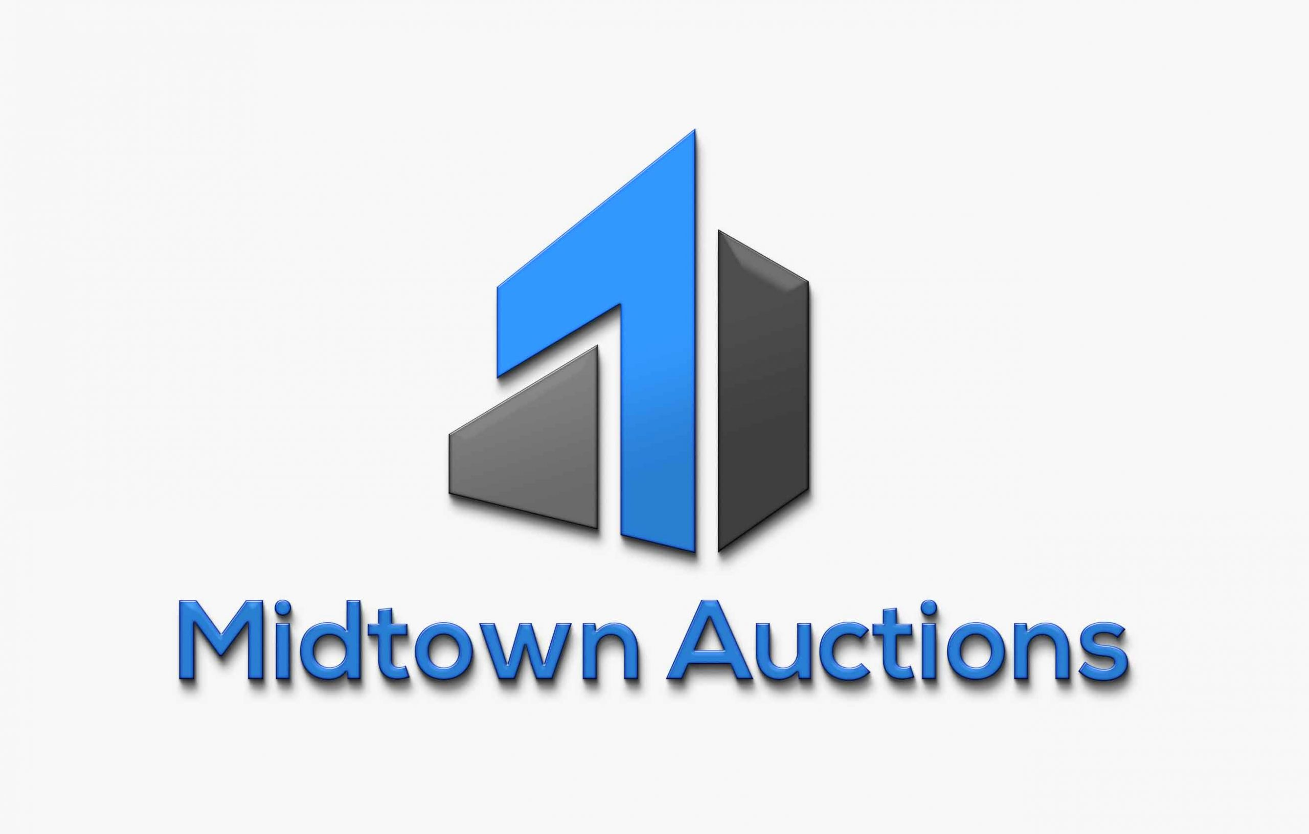 Logo for Midtown Auction. Logo consists of blue and gray colors resembling a building structure. The text Midtown Auctions rests below the logo.