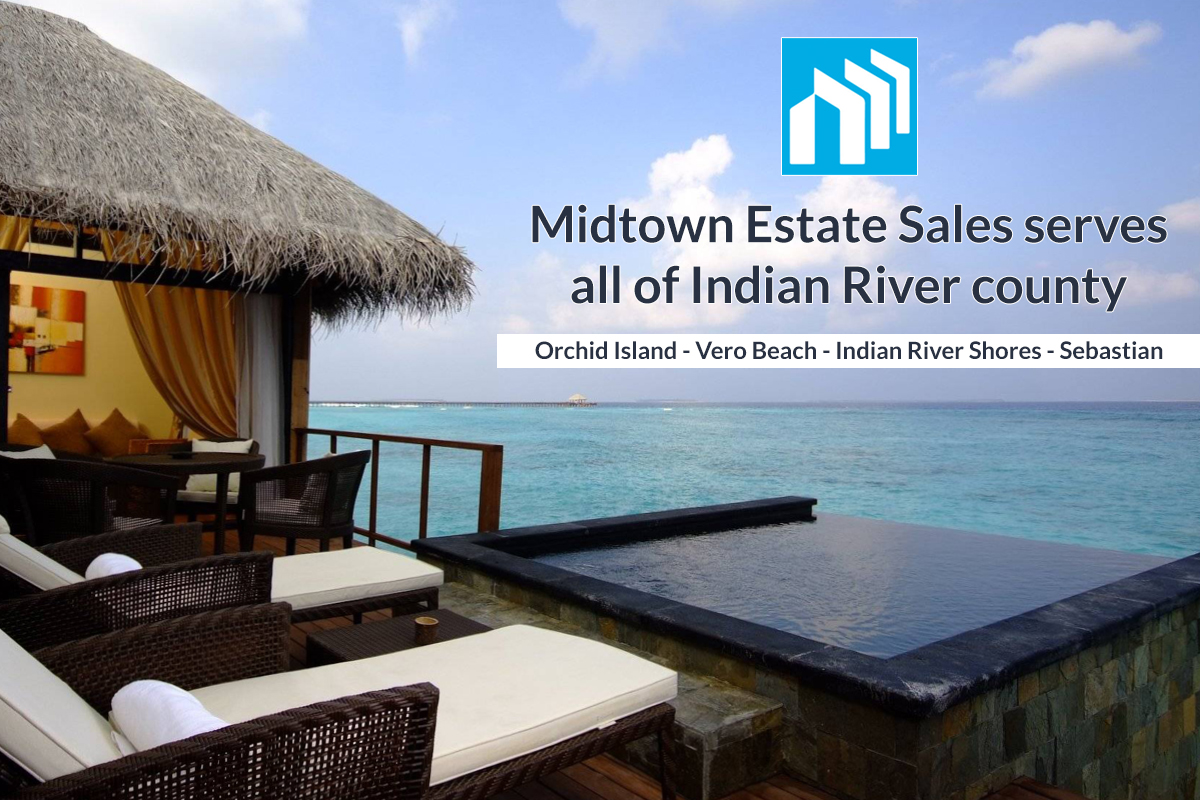 This image of a beautiful beach home overlooking the Atlantic with a beautiful pool in the foreground. the image lets viewer know that Midtown Estate Sales services all of Indian River County